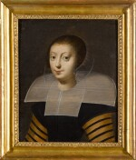 FRENCH SCHOOL, 18TH CENTURY   Portrait of a lady, bust-length, in a black dress with striped sleeves and a stiff lace collar