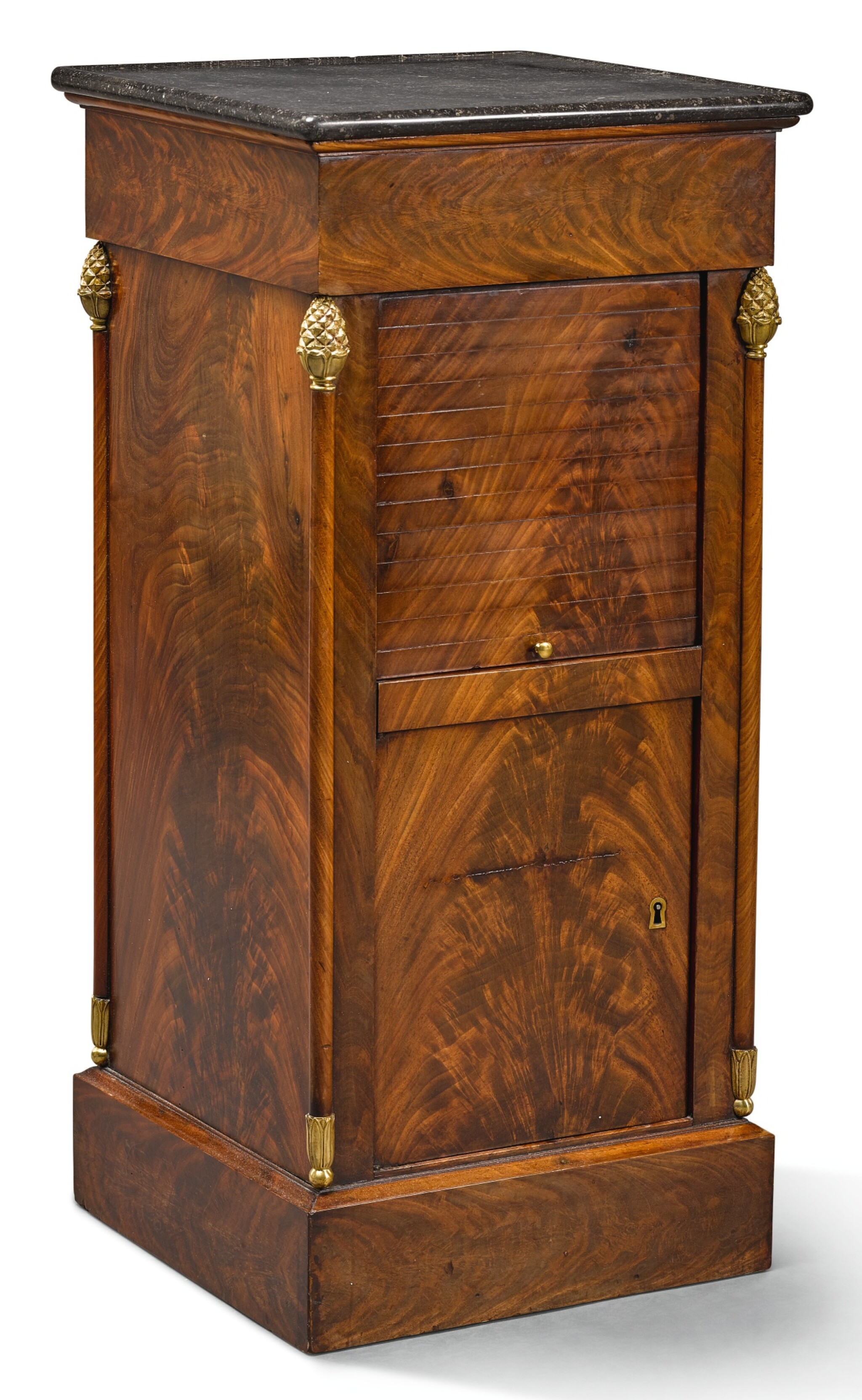 View full screen - View 1 of Lot 20. AN EMPIRE GILT-BRASS MAHOGANY CUPBOARD EARLY 19TH CENTURY.