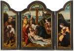 ANTWERP SCHOOL, CIRCA 1520 | A TRIPTYCH: THE DEPOSITION (CENTRAL PANEL); JOSEPH OF ARIMATHEA (LEFT WING); MARY MAGDALENE (RIGHT WING)