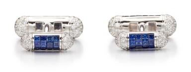 View 3. Thumbnail of Lot 1108. Pair of Sapphire and Diamond Cufflinks | 格拉夫| 藍寶石 配 鑽石 袖扣一對 (藍寶石及鑽石共重約4.70及2.30克拉).