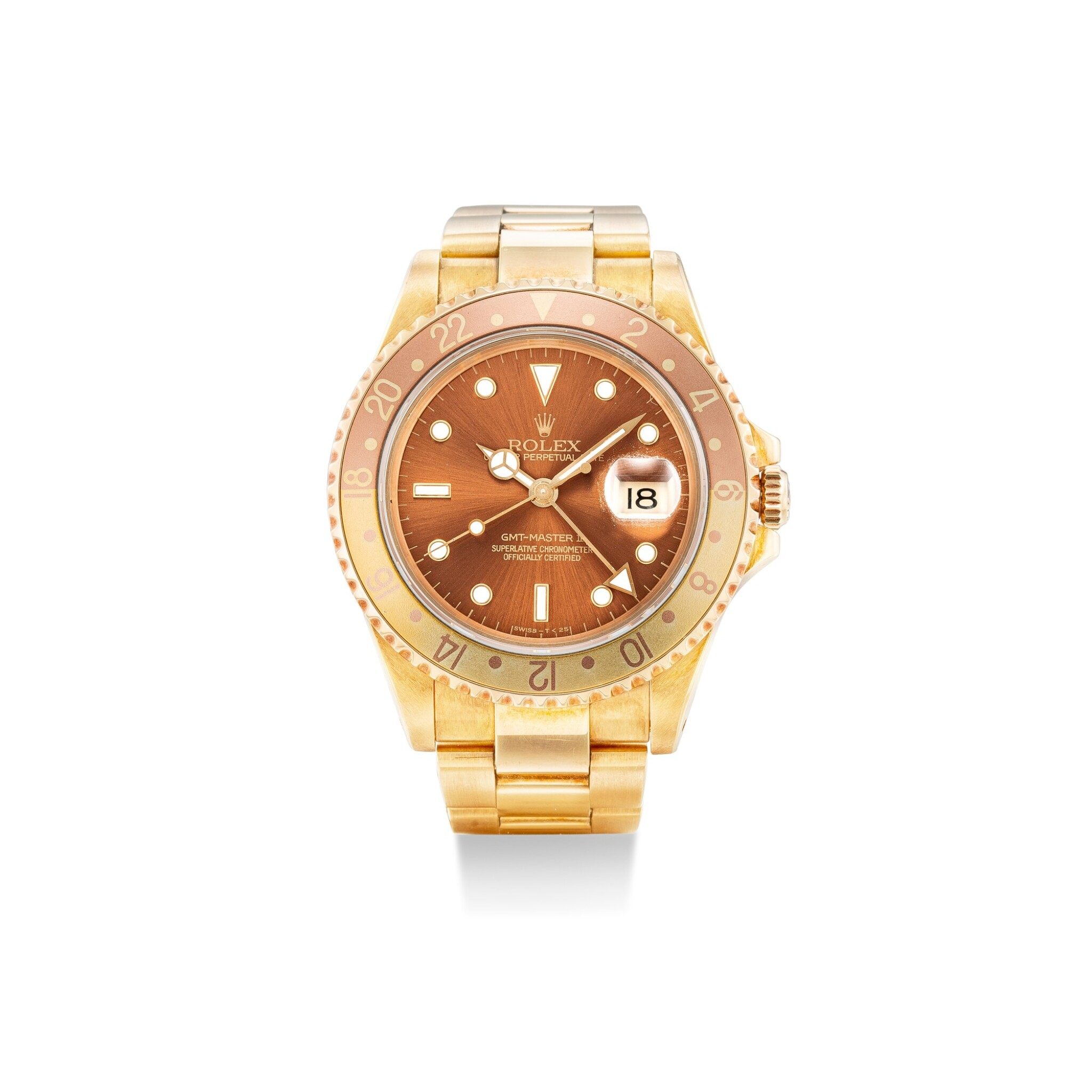 View full screen - View 1 of Lot 101. ROLEX | GMT-MASTER II, REFERENCE 16718, A YELLOW GOLD WRISTWATCH WITH DATE AND BRACELET, CIRCA 1993.