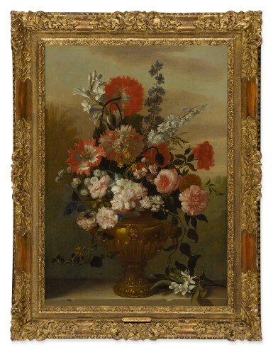 View 3. Thumbnail of Lot 117. Still life of flowers in a vase, upon a stone ledge.