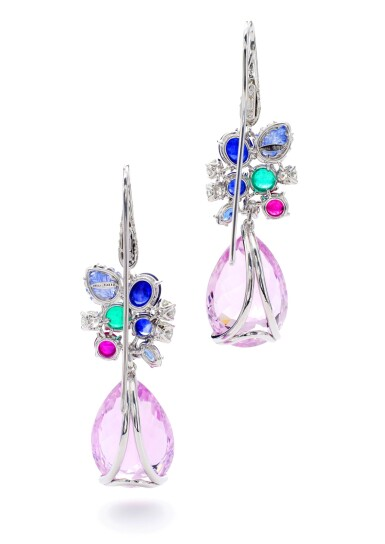View 3. Thumbnail of Lot 24. MICHELE DELLA VALLE   PAIR OF GEM SET AND DIAMOND PENDENT EARRINGS.