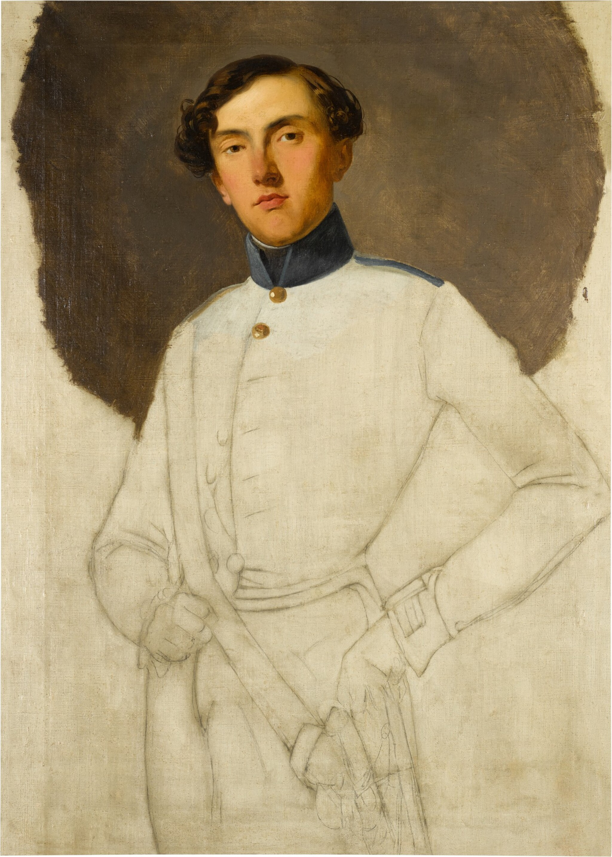 View full screen - View 1 of Lot 40. LOMBARD SCHOOL, 19TH CENTURY  |  PORTRAIT OF AN AUSTRIAN OFFICER, THREE-QUARTER LENGTH, UNFINISHED.