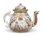 A MEISSEN CHINOISERIE TEAPOT AND COVER CIRCA 1723-24