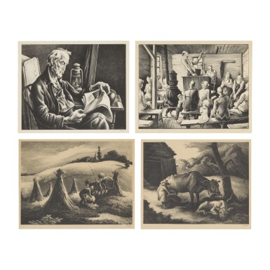 THOMAS HART BENTON | OLD MAN READING; THE MEETING; LOADING CORN; AND WHITE CALF (F. 44, 47, 65 & 67)