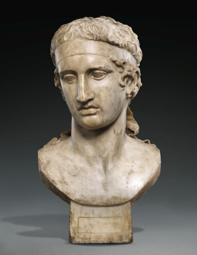 View 1. Thumbnail of Lot 27. A FRAGMENTARY ROMAN MARBLE HEAD OF THE DIADUMENOS, CIRCA 2ND CENTURY A.D., WITH MID 17TH CENTURY OR EARLIER RESTORATIONS.
