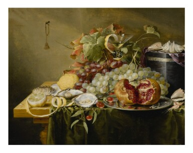 View 1. Thumbnail of Lot 127. LAURENS CRAEN  |  A STILL LIFE WITH A POMEGRANATE AND OTHER FRUITS, OYSTERS, SHRIMPS AND SHELLS ON A VELVET BOX ON A TABLE.