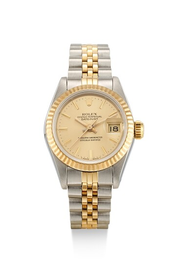 View 1. Thumbnail of Lot 8084. ROLEX   DATEJUST, REFERENCE 69173, A YELLOW GOLD AND STAINLESS STEEL WRISTWATCH WITH DATE AND BRACELET, CIRCA 1988.