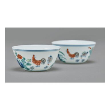View 2. Thumbnail of Lot 112. A PAIR OF DOUCAI 'CHICKEN' CUPS,  QING DYNASTY, KANGXI PERIOD.