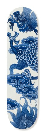 GUO PEI 郭培 | HAND-PAINTED SKATEBOARD IN UNDERGLAZE BLUE WITH DRAGON MOTIF 手繪青花雲龍紋滑板