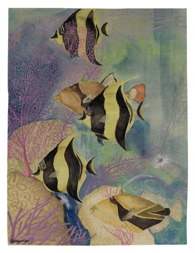 ANGELFISH AND TRIGGERFISH ON A REEF | BLUE-STRIPED GRUNT ON A REEF
