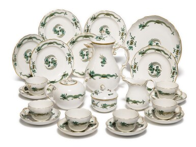 View 1. Thumbnail of Lot 123. A Meissen 'Green-Dragon' Pattern Tea and Coffee Service, 20th Century.