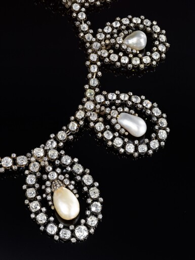 View 8. Thumbnail of Lot 180. Musy | Magnificent and Historic Natural pearl and diamond tiara/necklace, second half of the 19th century | Musy | 天然珍珠配鑽石王冠/項鏈,十九世紀下半葉,具歷史價值.