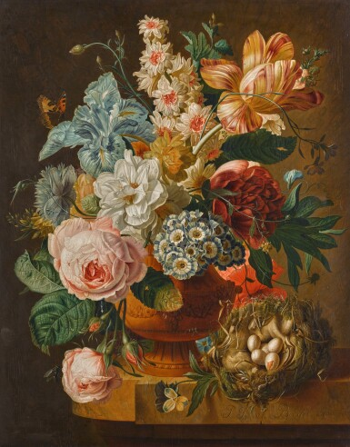 PAUL THEODOR VAN BRUSSEL | Still life of roses, an iris, a tulip and other flowers in an urn, on a stone ledge with a butterfly and a bird's nest