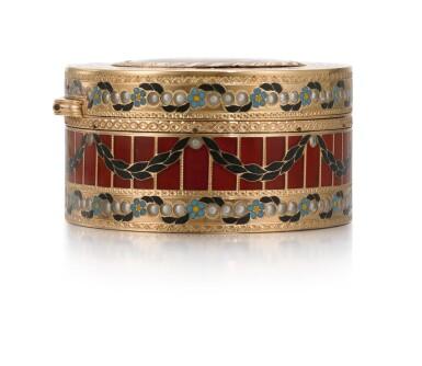 View 7. Thumbnail of Lot 10. A GOLD, HARDSTONE AND ENAMEL SNUFF BOX, JOHANN CHRISTIAN NEUBER, DRESDEN, CIRCA 1775.