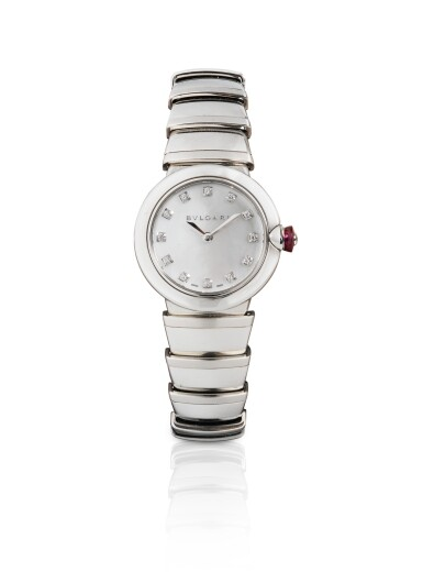 BULGARI | STAINLESS STEEL DIAMOND-SET BRACELET WATCH WITH MOTHER-OF-PEARL DIAL [MONTRE BRACELET EN ACIER AVEC CADRAN SERTI EN NACRE]