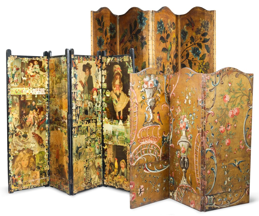 THREE FOLDING SCREENS, 19TH CENTURY
