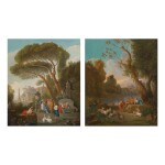 ATTRIBUTED TO JAN FRANS VAN BLOEMEN, CALLED L'ORIZZONTE | ITALIANATE LANDSCAPES WITH CLASSICAL FIGURES AND HERDERS BESIDE FOUNTAIN: A PAIR