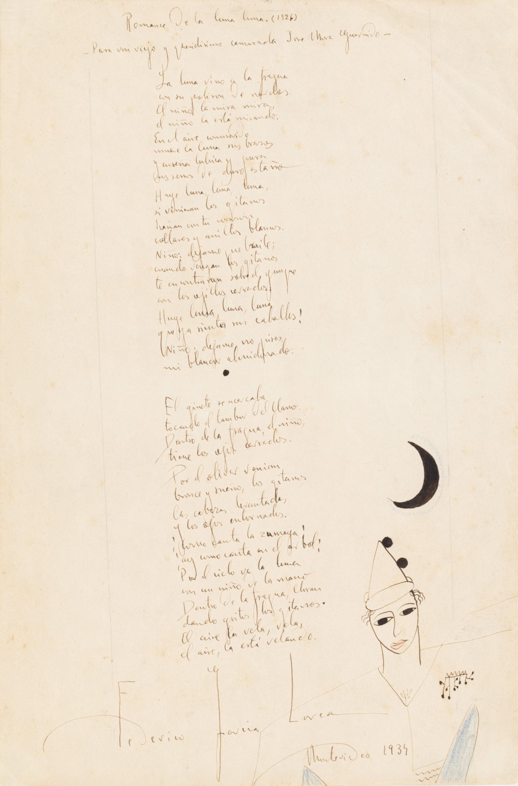View full screen - View 1 of Lot 150. Romance de la luna luna. 1934. Poème autographe signé, orné d'un dessin et offert à son ami Mora Guarnido.