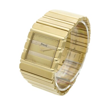 View 2. Thumbnail of Lot 30. Reference 7131 C 701 Polo  A yellow gold square shaped bracelet watch, Circa 1985 .