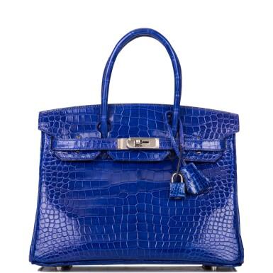 View 1. Thumbnail of Lot 7. Hermès Bleu Electrique Birkin 30cm of Shiny Porosus Crocodile with Palladium Hardware.