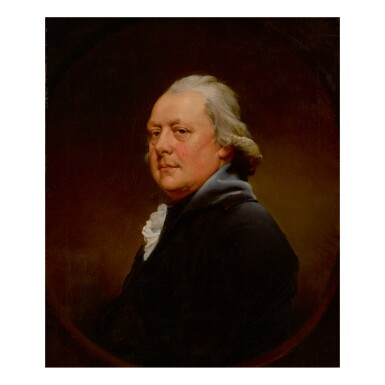 JOSEPH WRIGHT OF DERBY, A.R.A.   PORTRAIT OF REVEREND CHRISTOPHER ALDERSON, BUST-LENGTH, LOOKING OVER HIS SHOULDER, IN A PAINTED OVAL
