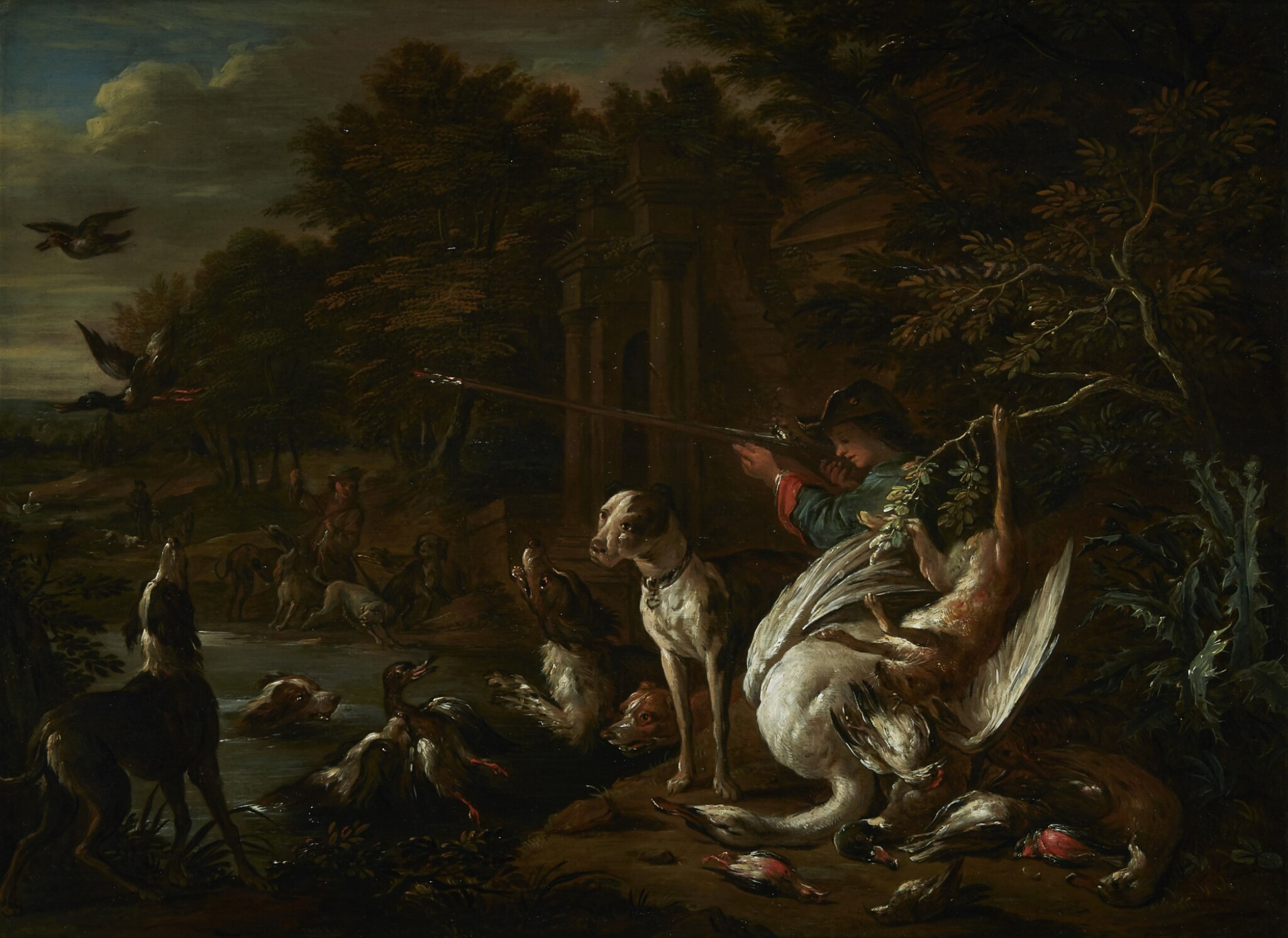 View full screen - View 1 of Lot 230. ADRIAEN DE GRYEF | A HUNTSMAN WITH HIS DOG AT THE WATER'S EDGE, SURROUNDED BY THEIR SPOILS.