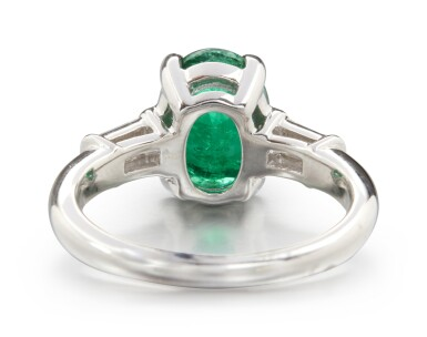 View 3. Thumbnail of Lot 72. EMERALD AND DIAMOND RING.
