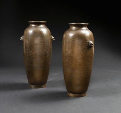 View 2. Thumbnail of Lot 122. A extremely rare pair of bronze 'Shisou' ovoid 'dragon' vases Qing dynasty, 17th-18th century | 清十七至十八世紀 銅錯銀龍紋獅首耳瓶一對  《石叟》款.