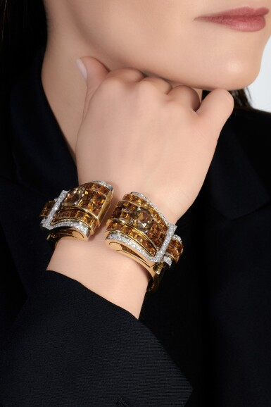 View 4. Thumbnail of Lot 695. Janesich | Pair of citrine and diamond clips/bangle combination, circa 1940 | Janesich | 黃水晶配鑽石別針/手鐲組合一對,約1940年.