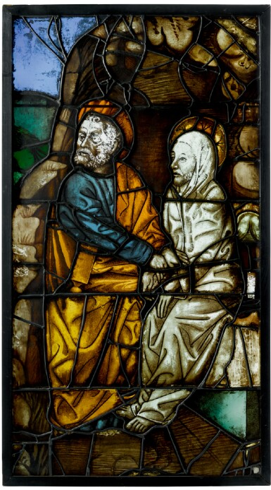 PROBABLY GERMAN, FIRST HALF 15TH CENTURY AND LATER | WINDOW PANEL WITH TWO SAINTS, POSSIBLY SAINT PETER AND SAINT LAZARUS