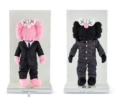 View 2. Thumbnail of Lot 9020. KAWS | DIOR X KAWS BFF粉紅色與黑色絨毛玩具(兩件)DIOR X KAWS BFF Pink and Black Plush Dolls (two works).