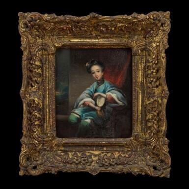 View 1. Thumbnail of Lot 190. Lamqua (fl. 1820-1860) Portrait of a Chinese Woman with a Fan   林呱(活躍於1820-1860年)執扇仕女圖 布本油畫 木框.