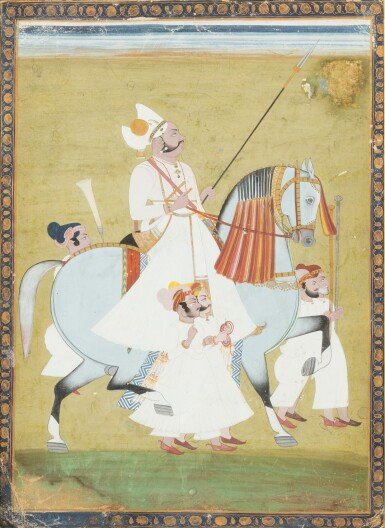 View 3. Thumbnail of Lot 34. INDIA, 19TH CENTURY | FOUR EQUESTRIAN PORTRAITS OF DIGNITARIES .