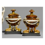 A PAIR OF WEDGWOOD CREAMWARE 'VARIEGATED AGATE' OIL LAMPS, COVERS AND ONE STOPPER CIRCA 1770