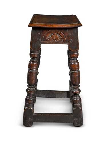View 3. Thumbnail of Lot 25. A Charles II oak joined stool, third quarter 17th century.