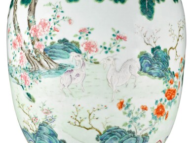 View 4. Thumbnail of Lot 162. A FINE AND RARE LARGE LIME-GREEN GROUND FAMILLE-ROSE 'THREE RAMS' VASE QING DYNASTY, DAOGUANG PERIOD SHENDETANG HALL MARK   清道光 綠地粉彩通景三羊開泰雙螭耳大瓶 《慎德堂製》款.