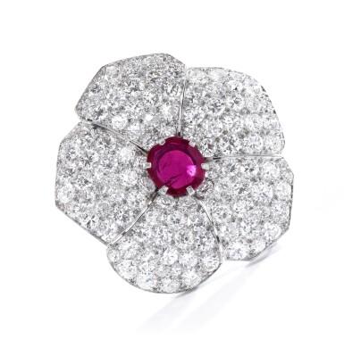 View 4. Thumbnail of Lot 601. Cartier | Ruby and diamond brooch, circa 1937 | 卡地亞 | 紅寶石配鑽石別針, 約1937年.