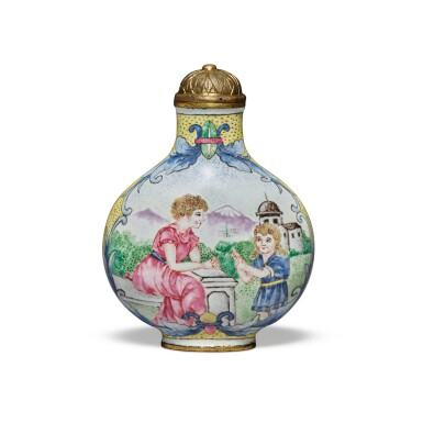 View 1. Thumbnail of Lot 67. A painted enamel 'European subject' snuff bottle, Mark and period of Qianlong   清乾隆 銅胎畫琺瑯西洋人物圖鼻煙壺 《乾隆年製》款.