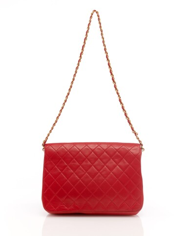 View 2. Thumbnail of Lot 69. Red quilted leather and gold-tone metal chain shoulder bag.