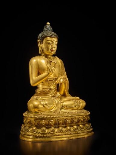 View 2. Thumbnail of Lot 60. A large gilt-bronze figure of Dipankara Buddha, Qing dynasty, Kangxi period | 清康熙 銅鎏金燃燈佛坐像.