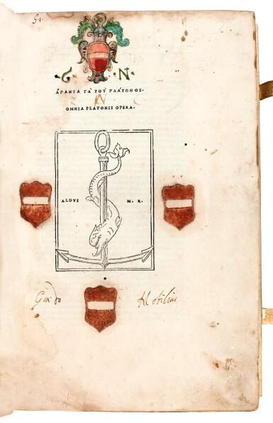 View 2. Thumbnail of Lot 6. Plato. Omnia Platonis opera. Venice, Aldus, 1513. modern pigskin, the Garden copy.