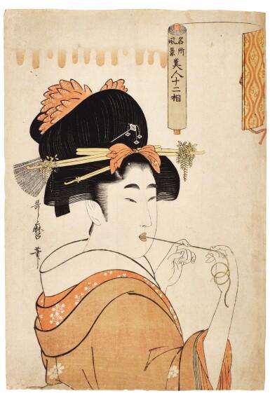 KITAGAWA UTAMARO (1754-1806) A WOMAN WITH NEEDLE AND THREAD | EDO PERIOD...
