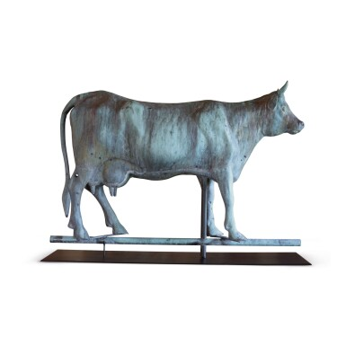 EXCEPTIONAL MOLDED FULL BODIED SHEET COPPER AND ZINC COW WEATHERVANE, FISKE AND CO., NEW YORK, CIRCA 1895
