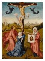 MANNER OF ROGIER VAN DER WEYDEN | CHRIST ON THE CROSS WITH THE VIRGIN, SAINT JOHN, AND SAINT VERONICA