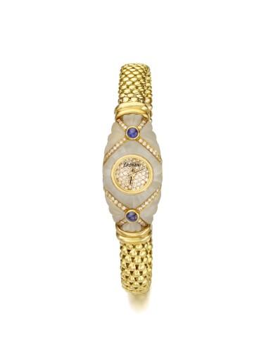 DELANEAU | A LADY'S YELLOW GOLD QUARTZ DIAMOND AND SAPPHIRE SET BRACELET WATCH CIRCA 2000