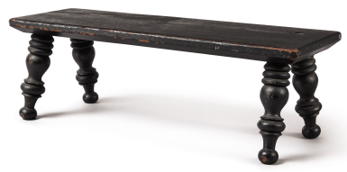 FEDERAL BLACK PAINTED MAPLE FOOTSTOOL, PROVIDENCE, RHODE ISLAND, CIRCA 1830