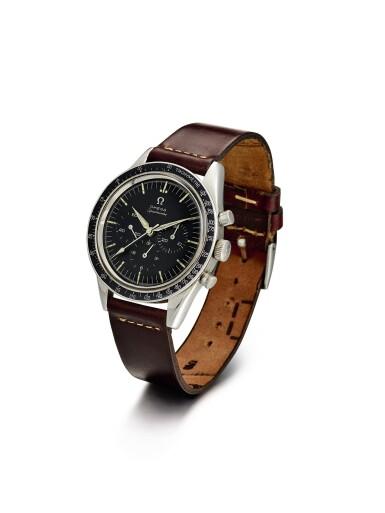 "View 2. Thumbnail of Lot 2124. OMEGA | SPEEDMASTER, REFERENCE 2998-61, A STAINLESS STEEL CHRONOGRAPH WRISTWATCH, CIRCA 1962 | 奧米茄 | ""Speedmaster 型號2998-61 精鋼計時腕錶,機芯編號18494116,約1962年製""."