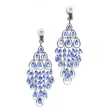 View 3. Thumbnail of Lot 88. GRAFF | PAIR OF SAPPHIRE AND DIAMOND PENDENT EARRINGS.